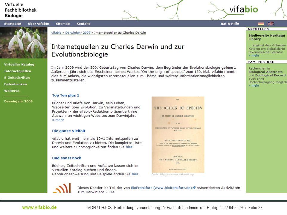 [ Bildschirmfoto: ] Dossier Darwinjahr 2009
